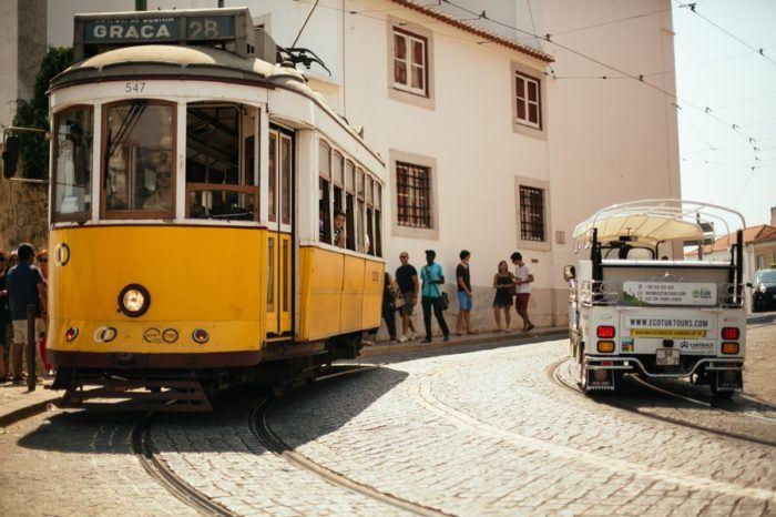 Le tramway jaune de Lisbonne