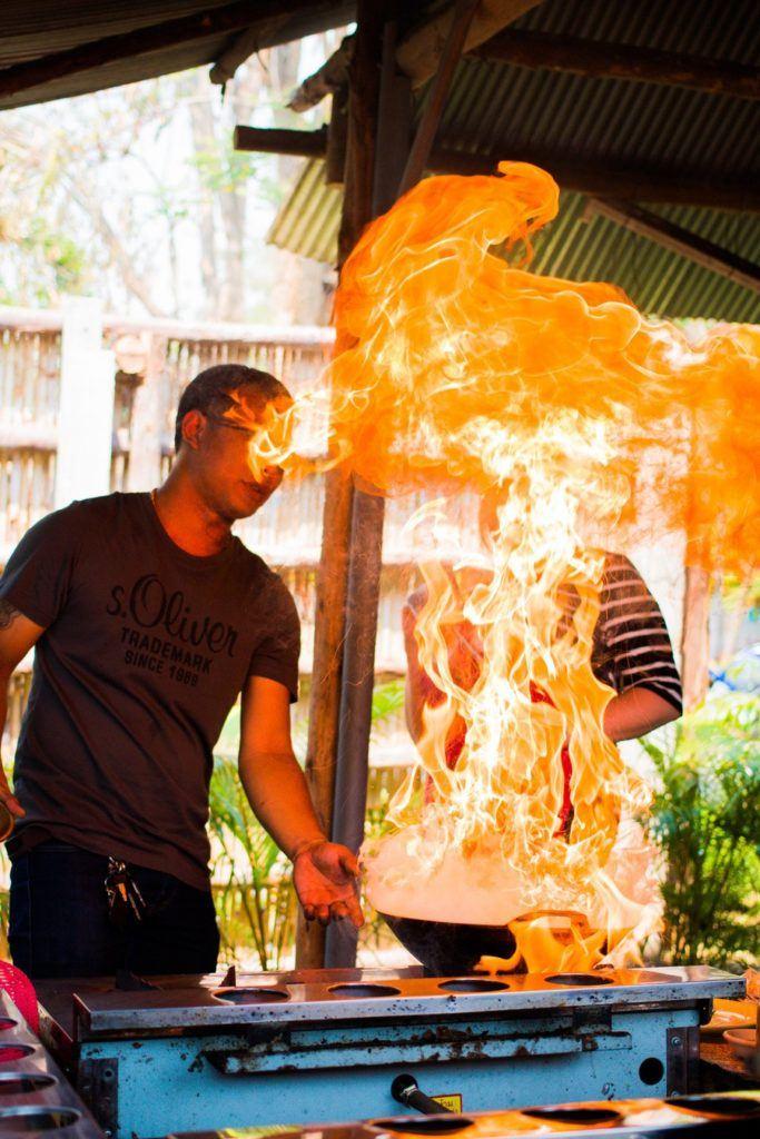 flammes cours de cuisine