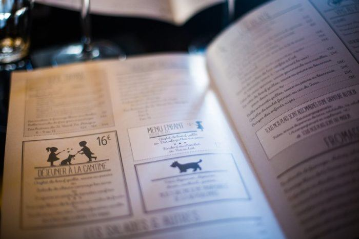 La carte du restaurant Les Enfants Sages