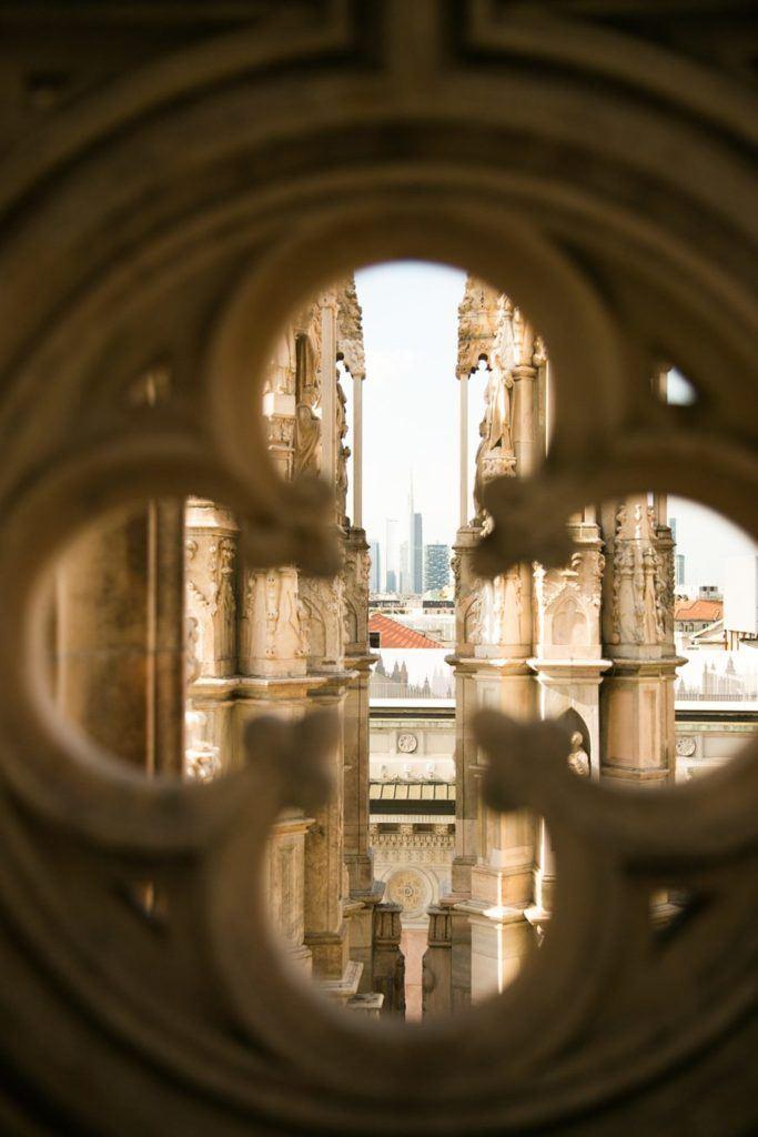 Vue sur le quartier des affaires de Milan depuis le Duomo