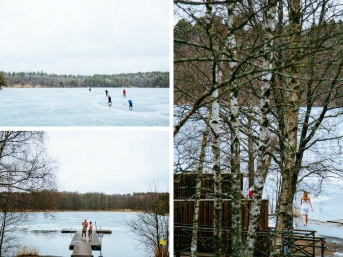 Sauna et lac gelé à Stockholm