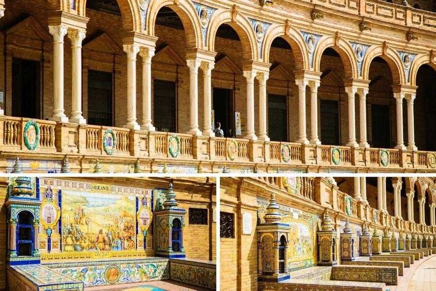 Les bancs de la Plaza de España