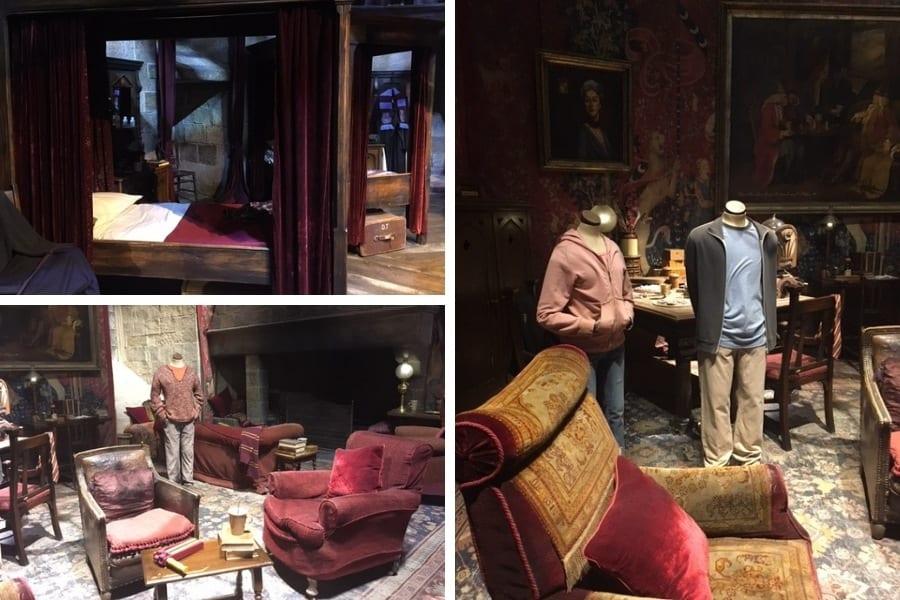 Dortoir et salle commune Gryffondor Studio Harry Potter