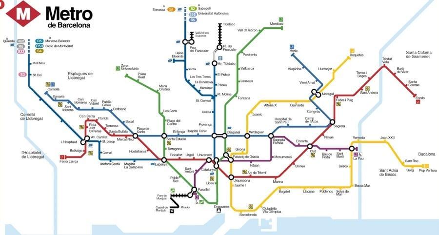 plan métro barcelone